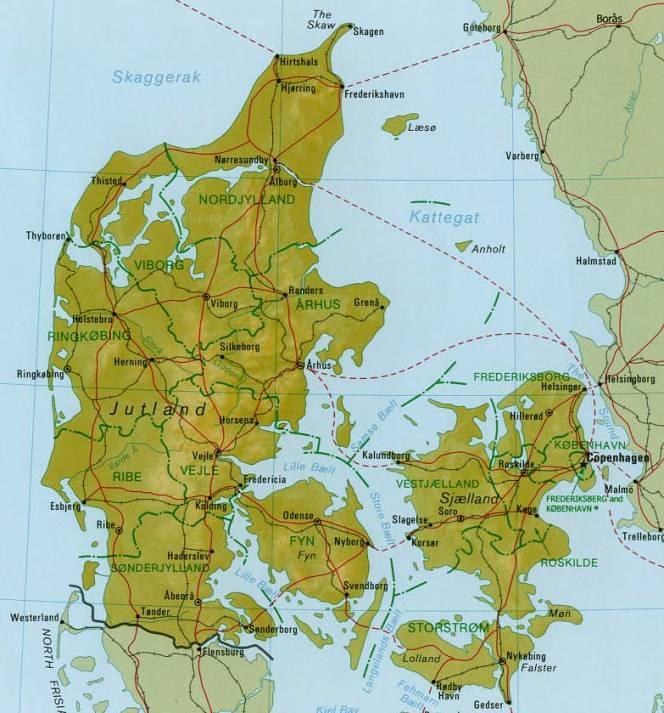 Dänemark Nordsee Karte.Topographie