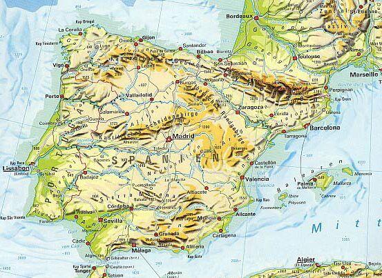 Malaga Karte Spanien.Spanien